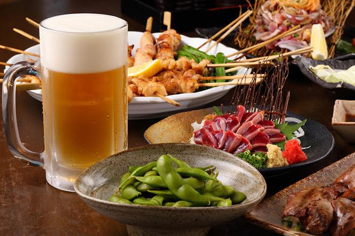 生ビールと料理